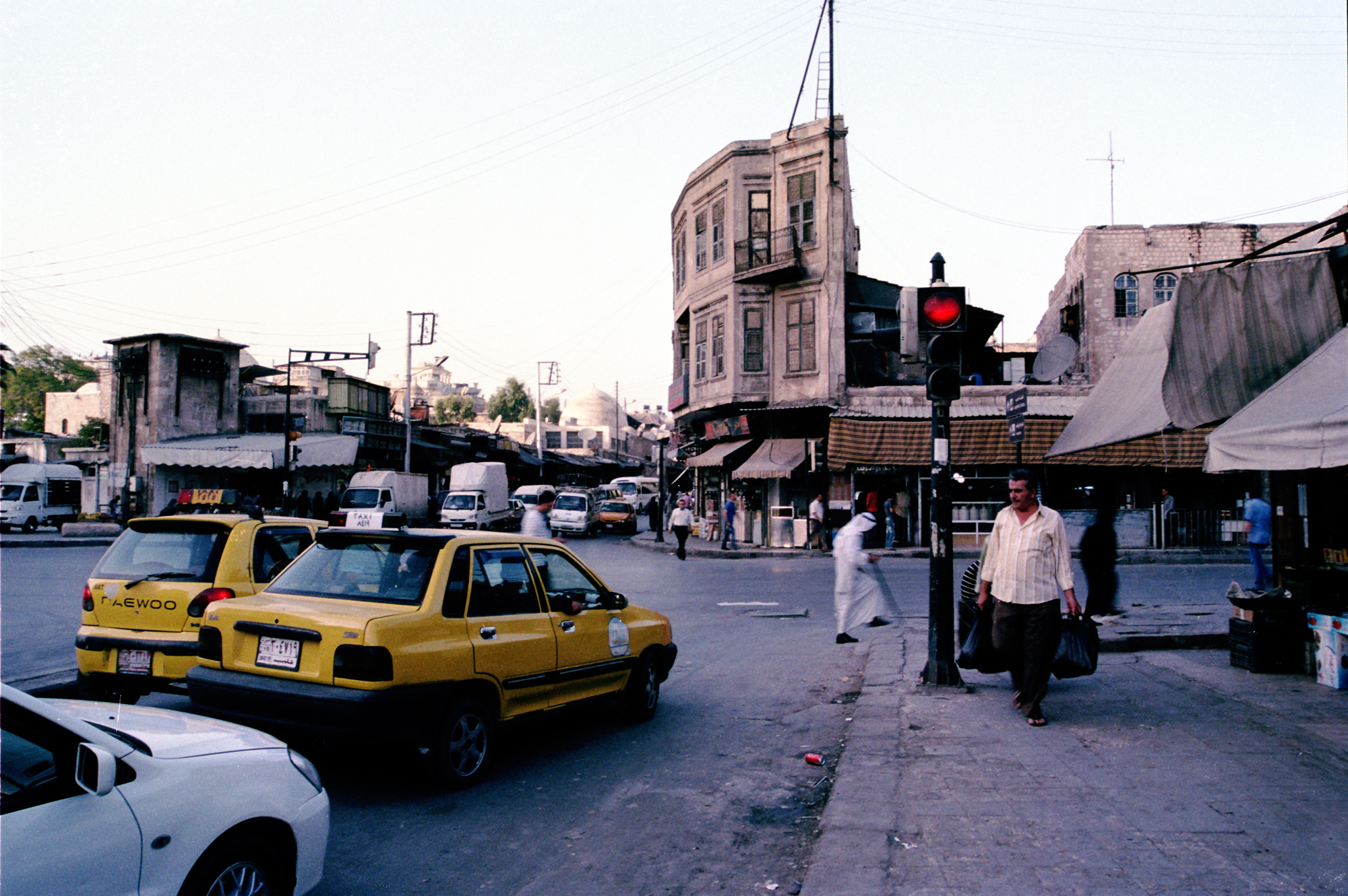 Taxis in Bab al-Jinan, the city's northwestern gate