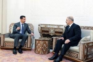 al-Asad incontra Hussein Makhluf (Sana)