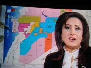 La presentatrice del programma siriano, sullo sfondo la carta senza Iskenderun