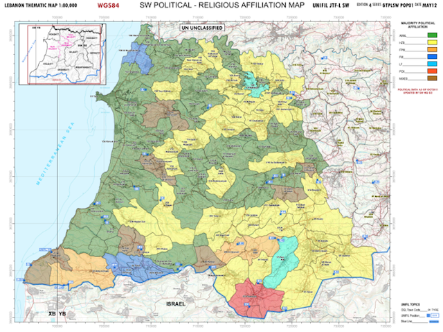 Ripartizione politico-amministrativa del settore ovest dell'area di responsabilità del contingente italiano della missione Unifil (fonte: P.I: del contingente italiano)