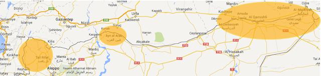 In giallo le zone a maggioranza curda nel nord della Siria (SiriaLibano.com)