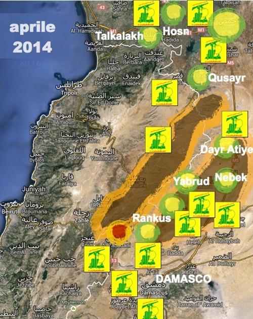 Le campagne militari di Hezbollah fino all'aprile 2014 (Carta di Lorenzo Trombetta per Limesonline)