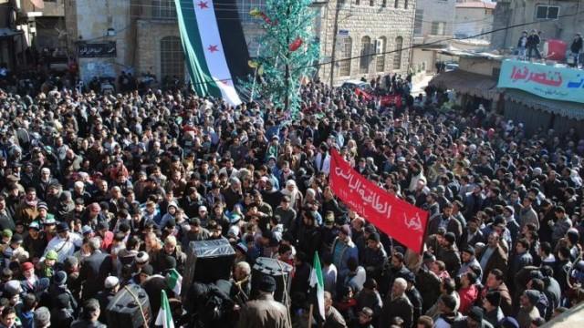 Manifestazione pacifica a Zabadani, regione di Damasco, 2012