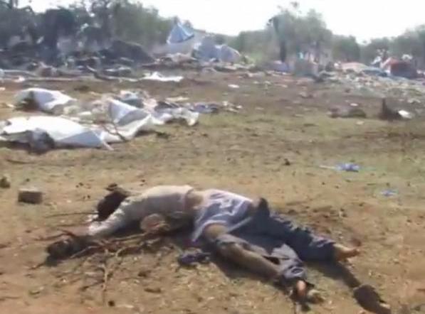 Fermo immagine di uno dei video girati dopo il bombardamento su Abdin (Internet)