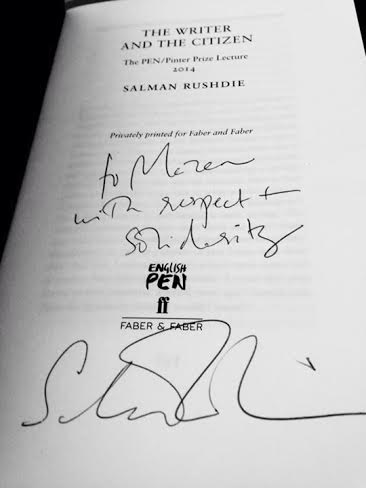 """To Mazen with respect and solidarity"" Salman Rushdie"